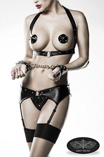 Grey Velvet - Strapsset mit Handschellen (Holster, Nippelpatches, Strapsgürtel, Slip, Handschellen mit Kette), schwarz