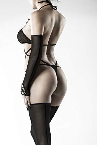 Grey Velvet – heisses Neckholder Body-Set (Body, Stockings, Handschuhe), schwarz - 6