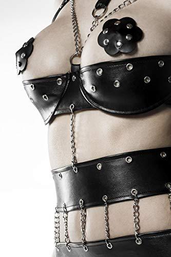 Grey Velvet – Body-Set mit Ketten (Body, String, Nippelpatches), schwarz - 6
