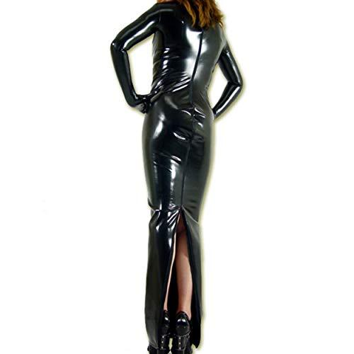 Rubberfashion Sexy Wetlook Damen Kleid lang, glänzendes metallic Wet Look Partykleid Langarm mit Langen Handschuhen Clubware metallic Schwarz XL