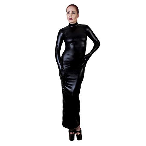 Rubberfashion Sexy Wetlook Damen Kleid lang, glänzendes metallic Wet Look Partykleid Langarm mit Langen Handschuhen Clubware metallic Schwarz XL - 2