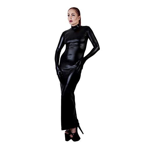 Rubberfashion Sexy Wetlook Damen Kleid lang, glänzendes metallic Wet Look Partykleid Langarm mit Langen Handschuhen Clubware metallic Schwarz XL - 3