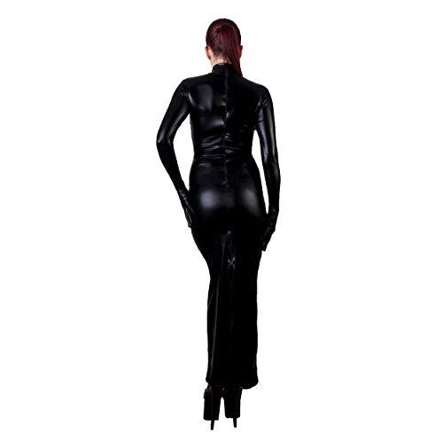 Rubberfashion Sexy Wetlook Damen Kleid lang, glänzendes metallic Wet Look Partykleid Langarm mit Langen Handschuhen Clubware metallic Schwarz XL - 4