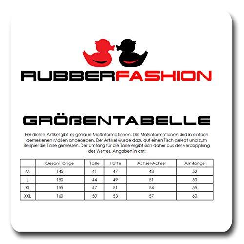 Rubberfashion Sexy Wetlook Damen Kleid lang, glänzendes metallic Wet Look Partykleid Langarm mit Langen Handschuhen Clubware metallic Schwarz XL - 9
