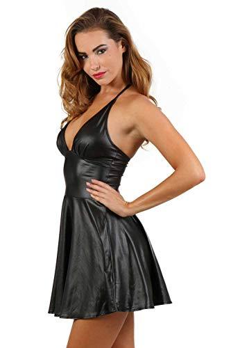 Miss Noir Wetlook Damen Kleid V-Ausschnitt Rückenfreies Partykleid Exklusives Clubwear,Schwarz,XL - 2