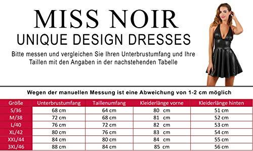 Miss Noir Wetlook Damen Kleid V-Ausschnitt Rückenfreies Partykleid Exklusives Clubwear,Schwarz,XL - 4